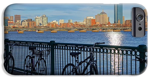 Charles Bridge Digital iPhone Cases - Bikes on the Charles River iPhone Case by Toby McGuire