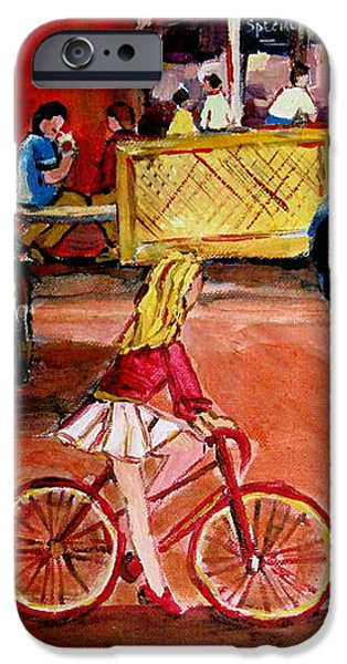 BIKING TO THE ORANGE JULEP iPhone Case by CAROLE SPANDAU