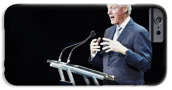 President iPhone Cases - Bill Clinton iPhone Case by William Morgan