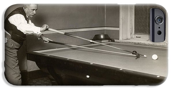 1907 iPhone Cases - BILLIARD PLAYER, c1907 iPhone Case by Granger