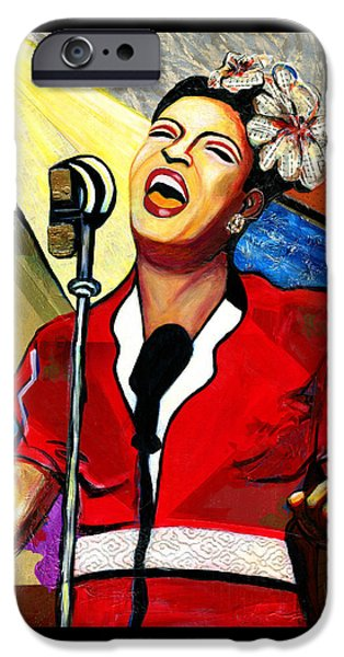 Jacob Lawrence iPhone Cases - Billie Holiday iPhone Case by Everett Spruill