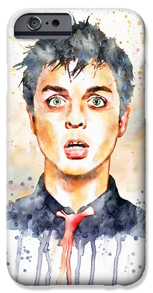 Red Rock Mixed Media iPhone Cases - Billie Joe Armstrong watercolor iPhone Case by Marian Voicu