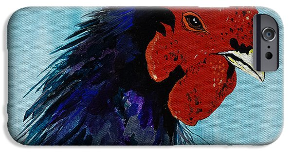 Zoological Paintings iPhone Cases - Billy Boy the Rooster iPhone Case by Janice Rae Pariza