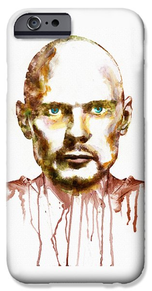 Vegetables iPhone Cases - Billy Corgan watercolor portrait iPhone Case by Marian Voicu