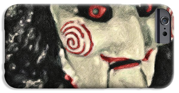 Creepy Paintings iPhone Cases - Billy the Puppet iPhone Case by Taylan Soyturk