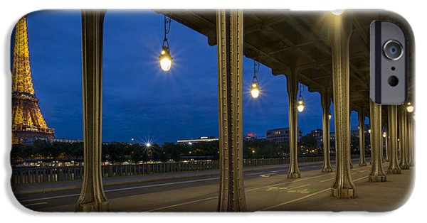 Night Lamp iPhone Cases - Bir Hakeim and Eiffel iPhone Case by Brian Jannsen