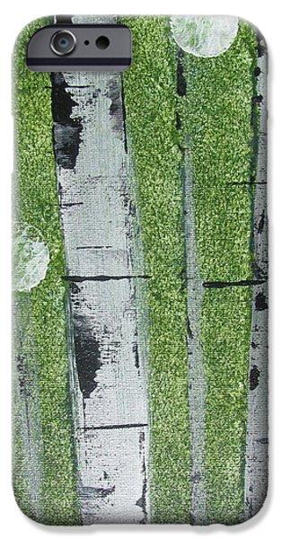 Birch - Green 1 iPhone Case by Jacqueline Athmann