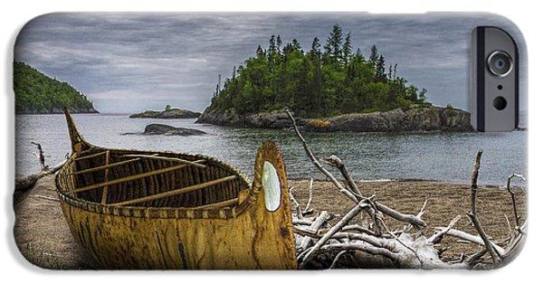 Canoe iPhone Cases - Birch Bark Canoe on Driftwood Beach by WaWa  iPhone Case by Randall Nyhof