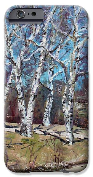 Birch iPhone Cases - Birch trees next door iPhone Case by Ylli Haruni
