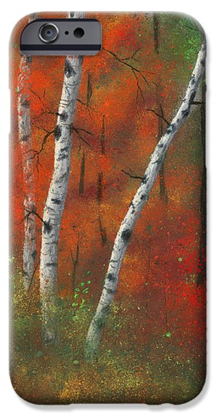 Minnesota Pastels iPhone Cases - Birches II iPhone Case by Garry McMichael