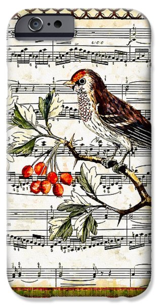 Sheets Drawings iPhone Cases - Bird and Berries iPhone Case by John K Woodruff