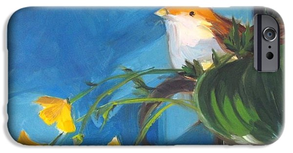 Tankard iPhone Cases - Bird and Buttercups on Blue iPhone Case by Lynne Schulte