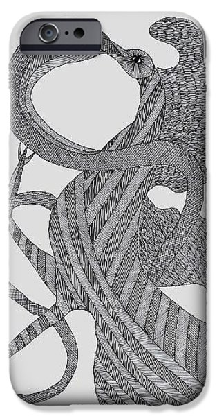 Gond Tribal Paintings iPhone Cases - Bird Andthe Snake 2010 iPhone Case by Ram Singh Urveti