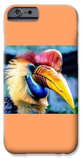 Abstract Digital Paintings iPhone Cases - Bird Beauty - no. 3 H B iPhone Case by Gert J Rheeders
