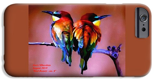 Business Pastels iPhone Cases - Bird Beauty - no. 4 H A iPhone Case by Gert J Rheeders