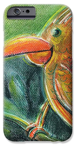 For Children Pastels iPhone Cases - Bird For Children Pastel Chalk Drawing iPhone Case by Frank Ramspott