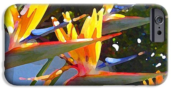 Floral Digital Art Digital Art iPhone Cases - Bird of Paradise Backlit by Sun iPhone Case by Amy Vangsgard