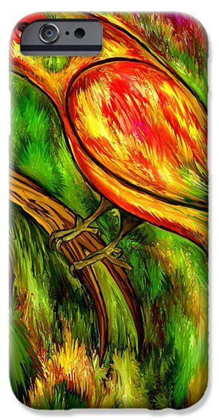 Recently Sold -  - Abstract Digital Drawings iPhone Cases - Bird on a branch iPhone Case by Rafi Talby