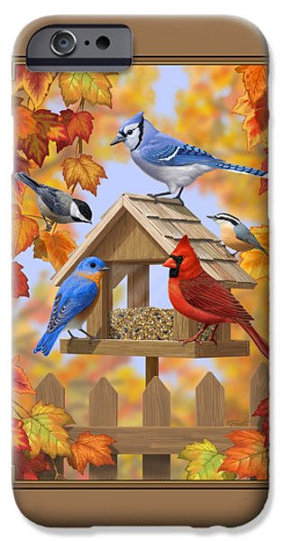 Fall Scenes iPhone Cases - Bird Painting - Autumn Aquaintances iPhone Case by Crista Forest