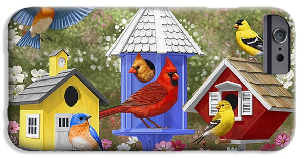 Birdhouse iPhone Cases - Bird Painting - Primary Colors iPhone Case by Crista Forest