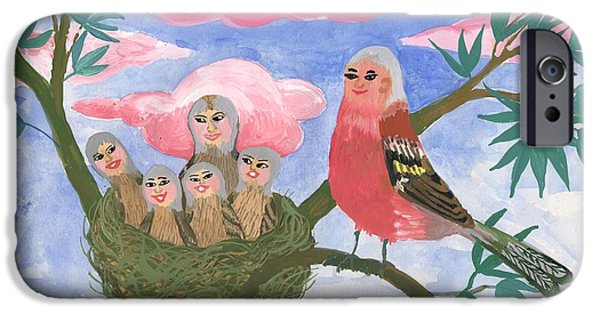 Sue Burgess Ceramics iPhone Cases - Bird people The Chaffinch Family iPhone Case by Sushila Burgess