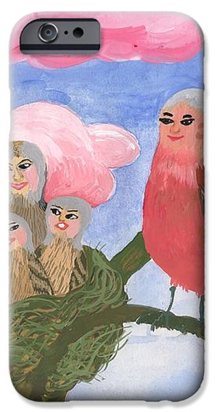 Bird people The Chaffinch Family iPhone Case by Sushila Burgess
