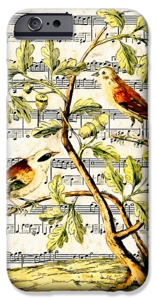 Sheets Drawings iPhone Cases - Bird Song iPhone Case by John K Woodruff
