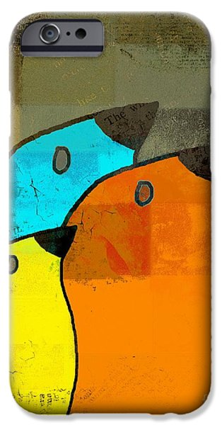 Orange Digital Art iPhone Cases - Birdies - c02tj1265c2 iPhone Case by Variance Collections