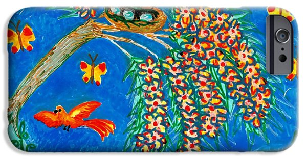 Sue Burgess Ceramics iPhone Cases - Birds and nest in flowering tree iPhone Case by Sushila Burgess