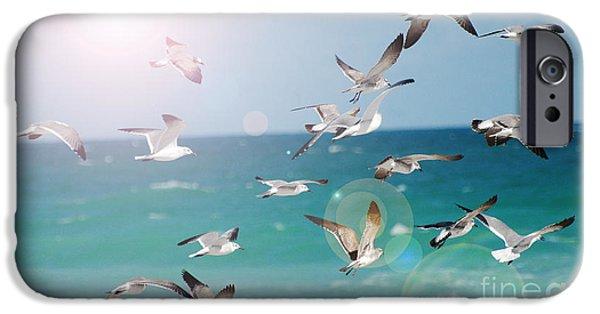 Waterscape Mixed Media iPhone Cases - Birds in Flight  iPhone Case by ArtyZen Studios - ArtyZen Home