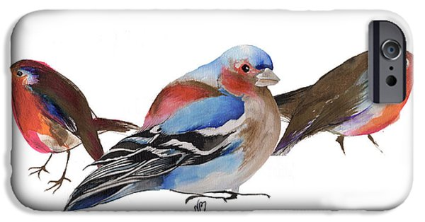 Animals Drawings iPhone Cases - Birds of a feather iPhone Case by Nancy Moniz