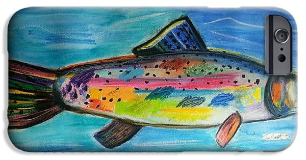 Aquatic Pastels iPhone Cases - Birthday Fish iPhone Case by Jon Swart