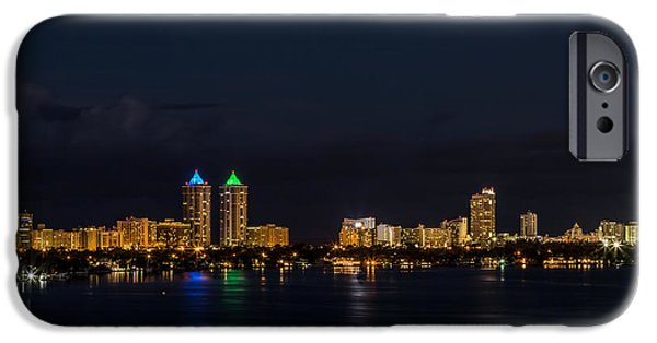 Creek Pyrography iPhone Cases - Biscayne Bay night view iPhone Case by Satoshi Kina