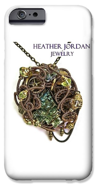 Jordan Jewelry iPhone Cases - Bismuth Uranium Vaseline Glass Swarovski Crystal and Quartz Steampunk Pendant in Bronze STMBSM39 iPhone Case by Heather Jordan