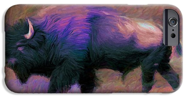 Yak Digital Art iPhone Cases - Bison 1 iPhone Case by Caito Junqueira