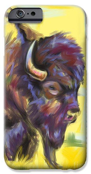 Bison Art iPhone Cases - Bison and bird iPhone Case by Go Van Kampen