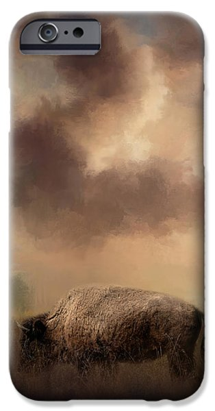 Bison Art iPhone Cases - Bison Grazing At Sunrise iPhone Case by Jai Johnson