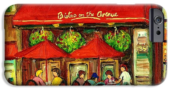 Luncheonettes Paintings iPhone Cases - Bistro On Greene Avenue In Montreal iPhone Case by Carole Spandau