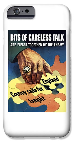 Lips iPhone Cases - Bits Of Careless Talk iPhone Case by War Is Hell Store