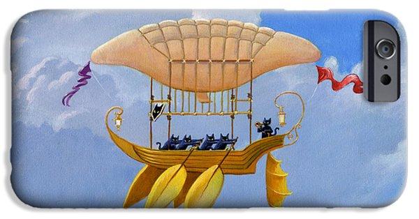 Oars Paintings iPhone Cases - Bizarre Feline-Powered Airship iPhone Case by John Deecken