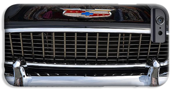 Stainless Steel iPhone Cases - black 55 Chevy grill iPhone Case by Mark Spearman