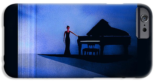 Piano iPhone Cases - Black And Blue iPhone Case by John Wolfersberger