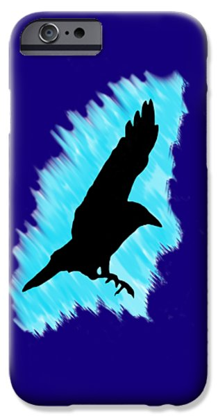 Crows iPhone Cases - Black And Blue iPhone Case by Linsey Williams