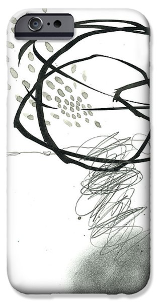 Drawing Paintings iPhone Cases - Black and White # 10 iPhone Case by Jane Davies