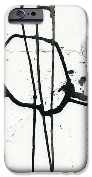 Drawing Paintings iPhone Cases - Black and White # 12 iPhone Case by Jane Davies