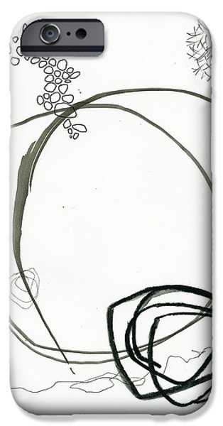 Drawing Paintings iPhone Cases - Black and White # 13 iPhone Case by Jane Davies