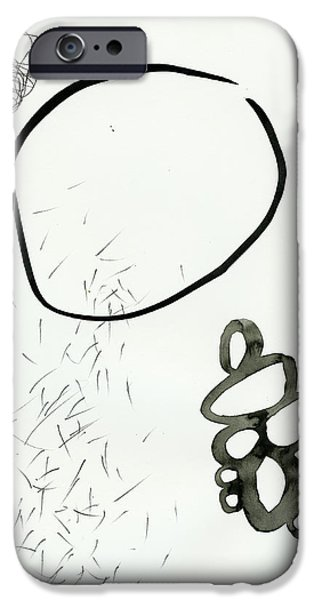Drawing Paintings iPhone Cases - Black and White # 19 iPhone Case by Jane Davies