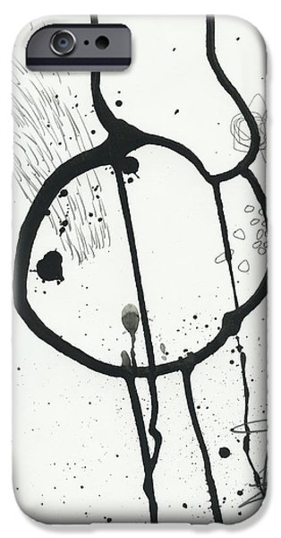 Drawing Paintings iPhone Cases - Black and White # 24 iPhone Case by Jane Davies