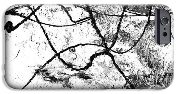 Chicago Paintings iPhone Cases - Black and White Abstract Art by Laura Gomez iPhone Case by Laura  Gomez