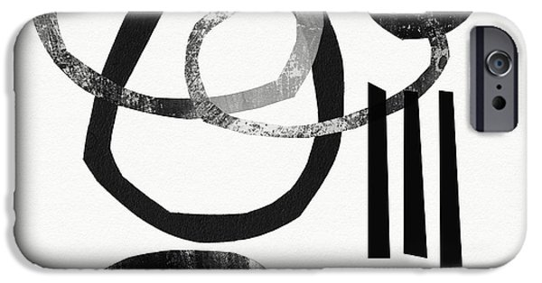 """geometric Art"" iPhone Cases - Black and White- Abstract Art iPhone Case by Linda Woods"